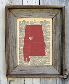 Alabama Crimson Tide Dictionary Art Print by wildandfreeprints
