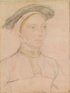"""An unidentified woman, Hans Holbein the Younger, c. 1532-43.  """"A portrait drawing of an unidentified woman. A bust length portrait facing three-quarters to the right. Inscribed by the artist: damast sh…(black damask)."""""""