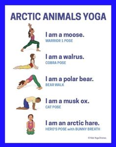 Arctic Animals Yoga Poster - pre-k - Kids Yoga Poses, Yoga For Kids, Exercise For Kids, Toddler Exercise, Preschool Yoga, Preschool Classroom, In Kindergarten, Gross Motor Activities, Animal Activities