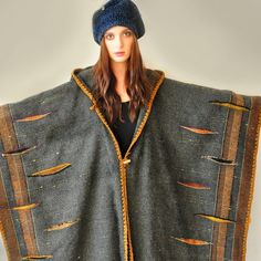 Dark Gray Handwoven Poncho Sold Accepting custom by subrosa123