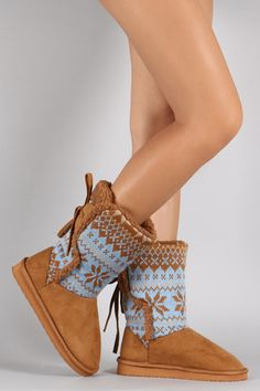 These flat boots feature a round toe, snowflake pattern sweater shaft, tie closure at the back. Flat Boots, Shoe Boots, Women's Shoes, Snowflake Pattern, Mid Calf Boots, Online Boutiques, Uggs, Espadrilles, Men Sweater