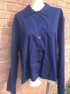 Vintage Light Weight Boxy Spring Jacket/Shirt-Navy #WhiteStag #Casual