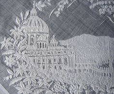 "Maria Niforos - Fine Antique Lace, Linens & Textiles : Antique Lace # LA-210 Superb Appenzel ""Grand Tour"" Hankerchief of Rome"
