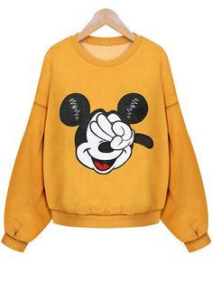 Mickey Print Crop Sweatshirt 14.33