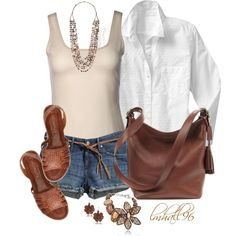 """""""Tank Top and Denim Shorts"""" by lmhall96 on Polyvore"""