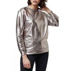Topshop 'Luxe' Foiled Sweatshirt ($60) ❤ liked on Polyvore featuring tops, hoodies, sweatshirts, silver, wet look top, long sleeve tops, brown sweatshirt, topshop and long sleeve sweatshirt