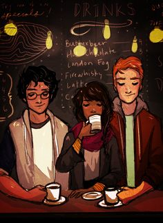 'The two whose company he craved most' - The Golden Trio - art by lilabeanz on Tumblr.
