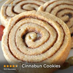 "Cinnabun Cookies | ""These are cinnamon flavored cookies with a cinnamon filling. They are rolled, cut and baked just like cinnamon rolls. Try them with a confectioners' sugar glaze."""