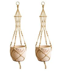 YINUOWEI 2 Packs Macrame Plant Hanger Heavy Duty Hanging Planter Basket for Patio Balcony Ceiling Deck Indoor Outdoor Decorative Plants Hanging Jute Rope 4 Legs 48 Inch Jute Rope 2 >>> ** AMAZON BEST BUY ** #HangingPlanters Hanging Planters, Plant Decor, Plant Hanger, Jute, Balcony, Indoor Outdoor, Macrame, Cool Things To Buy, Deck