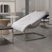 Contemporary armchair / cantilever / metal / leather
