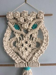 Handmade macrame owl wall hanging custom made! Macrame Owl, Macrame Knots, Micro Macramé, Creme Color, Textile Fiber Art, Cotton Rope, Diy And Crafts, Crochet Patterns, Weaving