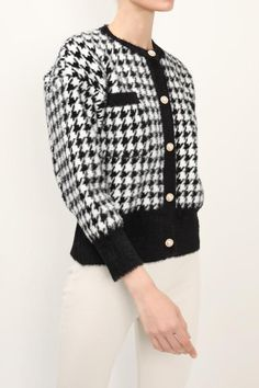 Women's Jackets, Jackets For Women, Houndstooth, Knit Cardigan, Latest Fashion Trends, Aurora, Shop My, Coats, Pullover