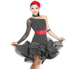 Dancewear Women's Polka Dots Viscose Tulle Latin Dance Dress – USD $ 109.99