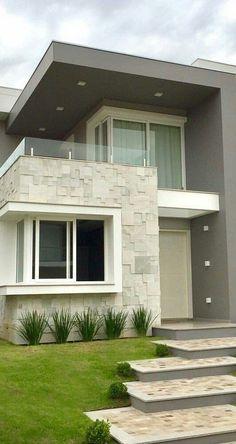 Modern Small House Design, Modern Exterior House Designs, Modern House Facades, Duplex House Design, House Front Design, Dream House Exterior, Model House Plan, House Entrance, Facade House