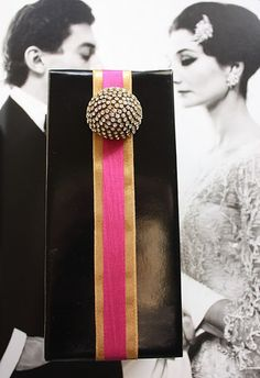 glammy black and ribbon and cabochon gift wrap