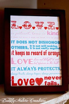 Project Party Weekend and Printable 1 Corinthians 13 Subway Art! - Bubbly Nature Creations. Show your Love.