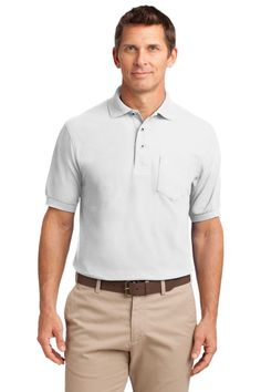 Port Authority Tall Silk Touch™ Polo with Pocket. TLK500P White