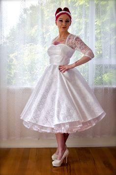 1950's Rockabilly LorilynWedding Dress with Sleeves by PixiePocket