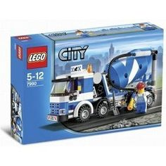"""LEGO© City Cement Mixer (Set #7990) by LEGO. $79.85. Lego City Set #7990 Cement Mixer. Help build the City!Get ready to build some new roads in LEGO City! Pull out the long flexible hose, rotate the drum to mix the cement and pour it out!* Includes worker minifigure and accessories!* Cement drum really turns!* Truck measures 7"""" (18 cm) long!"""