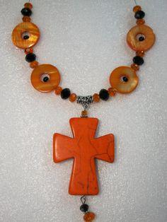 Cross Necklace in Orange