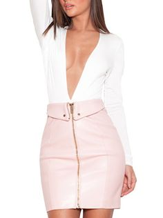 c5cdc86a25  Ava  Blush Pink Vegan Leather Mini Skirt Leather Skirt