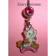 MARIE Kitty CAT Meow From The Aristocats Disney Belly Navel Ring Body... (13 AUD) ❤ liked on Polyvore featuring jewelry, body jewellery, disney, cat charms, charm jewelry and cat jewelry