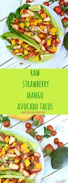 Raw Strawberry Mango Avocado Tacos (vegan, gluten free, healthy) Add the yellow lentil apricot hummus Vegan Keto, Raw Vegan Recipes, Vegan Foods, Vegan Dishes, Vegetarian Recipes, Gluten Free Recipes, Healthy Recipes, Vegan Raw, Beef Recipes