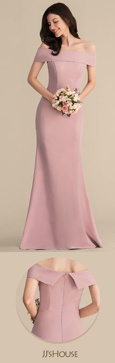 e16653833c30 Trumpet Mermaid Off-the-Shoulder Floor-Length Stretch Crepe Bridesmaid Dress
