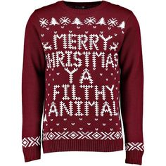 Boohoo Merry Christmas Ya Filthy Animal Jumper ($16) ❤ liked on Polyvore featuring tops, sweaters, red sweater, animal sweaters, layered shirt sweater, cable knit sweater and animal shirts