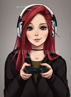 People's Portraits - Gamer by - Zeichnung - Anime Cute Girl Drawing, Cartoon Girl Drawing, Girl Cartoon, Cartoon Art, Drawing Disney, Cool Anime Girl, Kawaii Anime Girl, Anime Art Girl, Awesome Anime