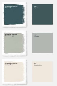"Magnolia Paint Colors Matched to Behr These days, you'd have to live under a rock to not know who Chip and Joanna Gaines are. Their initial debut was on the infamous HGTV show ""Fixer Upper"" and since then they have opened a destination spot in Waco, Texas Magnolia Paint Colors, Fixer Upper Paint Colors, Magnolia Homes Paint, Matching Paint Colors, Green Paint Colors, Bedroom Paint Colors, Exterior Paint Colors, Paint Colors For Home, Behr Paint Colors"