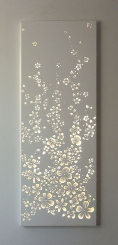 Wall design - Although most of these are on metal sheets, I am going to use wooden boards with bright LED light changing bulbs behind it Salon Interior Design, Salon Design, Cut Out Canvas, Plafond Design, Room Decor, Wall Decor, False Ceiling Design, Decoration, Lighting Design