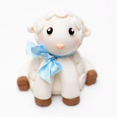 Fondant Baby Lamb Cake Topper with Bow  by SweetPeaCakesArt