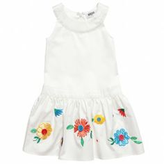 Moschino Girls Ivory Cotton Dress with Embroidered Flowers at Childrensalon.com