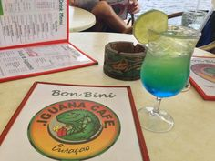 A blue Curacao drink at the Iguana Cafe on the Punda waterfront in Willemstad