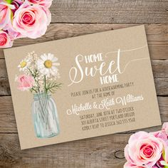 Printable Floral Housewarming Invitation Template. Invite your guests to your housewarming party with our printable invitations.