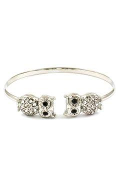 Crystal Owl Cuff in Silver by Kardemon