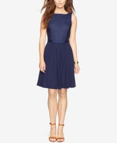 American Living Floral-Lace A-Line Dress - Dresses - Women - Macy's