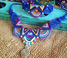 Macrame hippie necklace/bracelet / Colorful jewelry/ Handmade - New In Tops Collar Macrame, Macrame Necklace, Macrame Jewelry, Macrame Bracelets, Handmade Bracelets, Handmade Jewelry, Necklace Set, Diy Jewelry, Silver Jewelry