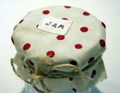 Polka Dot Jam jar covers  set of 6 by FrenchPantry on Etsy, $10.00