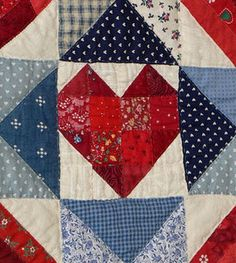 Cute heart quilt block. Images only on Sew Kalico at http://sewkalico.blogspot.com/2011/12/good-friends-quilt-memories.html Patch Quilt, Flag Quilt, Patriotic Quilts, Quilt Blocks, Old Quilts, Barn Quilts, Mini Quilts, Patchwork Heart, Civil War Quilts