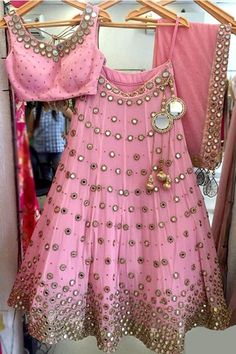 The Stylish And Elegant Lehenga Choli In Pink Colour Looks Stunning And Gorgeous With Trendy And Fashionable Embroidery . The Dhupion Silk Fabric Party Wear Lehenga Choli Looks Extremely Attractive An. Lehenga Choli Designs, Ghagra Choli, Bridal Lehenga Choli, Lehnga Blouse, Kids Lehenga Choli, Pakistani Bridal, Indian Bridal, Indian Dresses, Indian Outfits