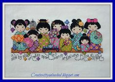 Adorable kokeshi dolls – what a gorgeous finish by Preeti, using the pattern by Joan Elliott from our issue 200 (March 2013) of The World of Cross Stitching magazine