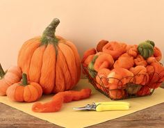 So-Simple Felted Pumpkins  Cultivate your own pumpkin patch—indoors—with Decadent Fibers' needle felting kit. Needle felting is an easy-to-learn craft that's akin to sculpting with wool. The kit includes two needles, illustrated instructions, and custom-dyed wool roving for two medium or eight small pumpkins. ($24;