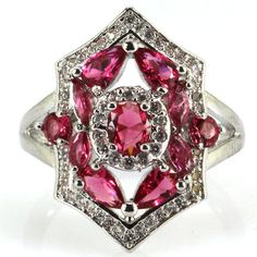 Pink Raspberry Rhodolite Garnet S/Silver 925 & CZ Ring Size 7.5 Weimaraner Rescu #Unbranded #Cluster