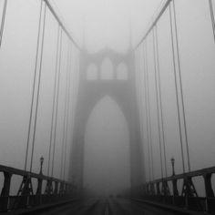 St Johns Bridge in Fog 2, Portland, Oregon by Michael Buchino