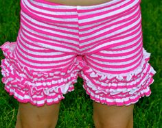 Striped hot pink and white ruffled knit childrens by Gogreenstyle, $23.00