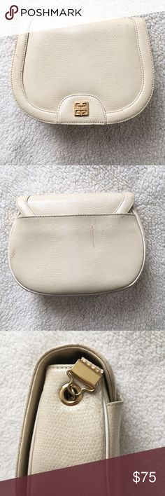 Vintage Givenchy Bag Ivory colored small vintage Givenchy clutch/cosmetics bag. Strap was removed at some point during the bag's life. Spots of discoloration on the back. Clean, sturdy, beautiful little bag! Givenchy Bags Clutches & Wristlets