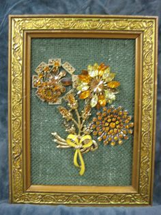 "Framed Vintage Jewelry Art - 6X9"" - Gold Floral Bouquet - OOAK #Surrealism"