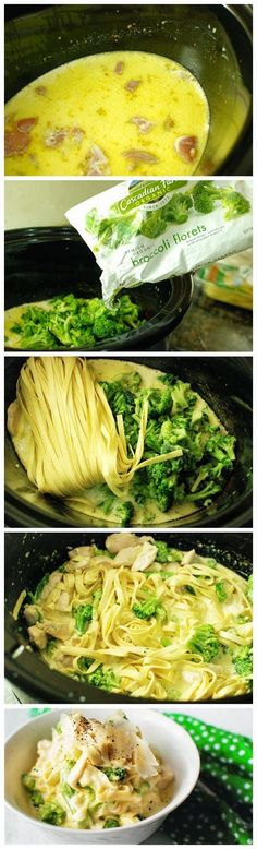 slow cooker Chicken Fettuccine Alfredo recipe - a bit of gourmet in the every day! Crock Pot Food, Crockpot Dishes, Crock Pot Slow Cooker, Slow Cooker Chicken, Slow Cooker Recipes, Cooking Recipes, Healthy Recipes, Crockpot Meals, Yummy Recipes